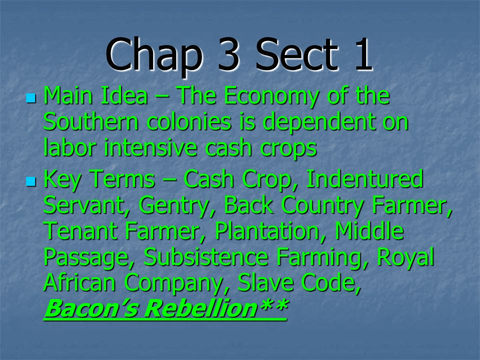 Chap 3 Sect 1 Main Idea – The Economy of the Southern colonies is dependent on labor intensive cash crops.