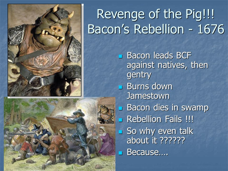the consequences of bacons rebellion of 1675 Bacon's rebellion was a rebellion of freed former indentured white servants in 1676 led by nathaniel bacon they did not have land, and so were pushed into the untamed country side to find land.