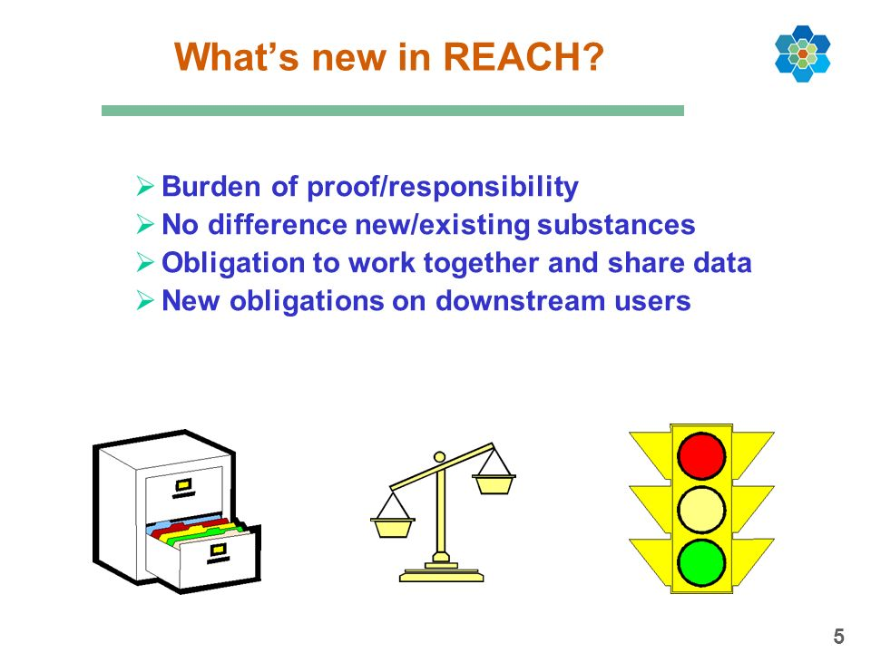 What's new in REACH Burden of proof/responsibility