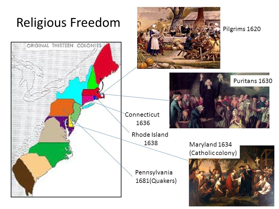 religious freedom in british american colonies How a desire for religious freedom or land, or both, led to colonies many quakers wanted to leave england, but they were not welcome in most american colonies.
