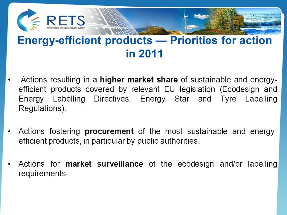 Energy-efficient products — Priorities for action in 2011