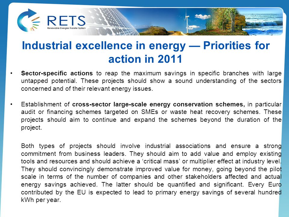 Industrial excellence in energy — Priorities for action in 2011