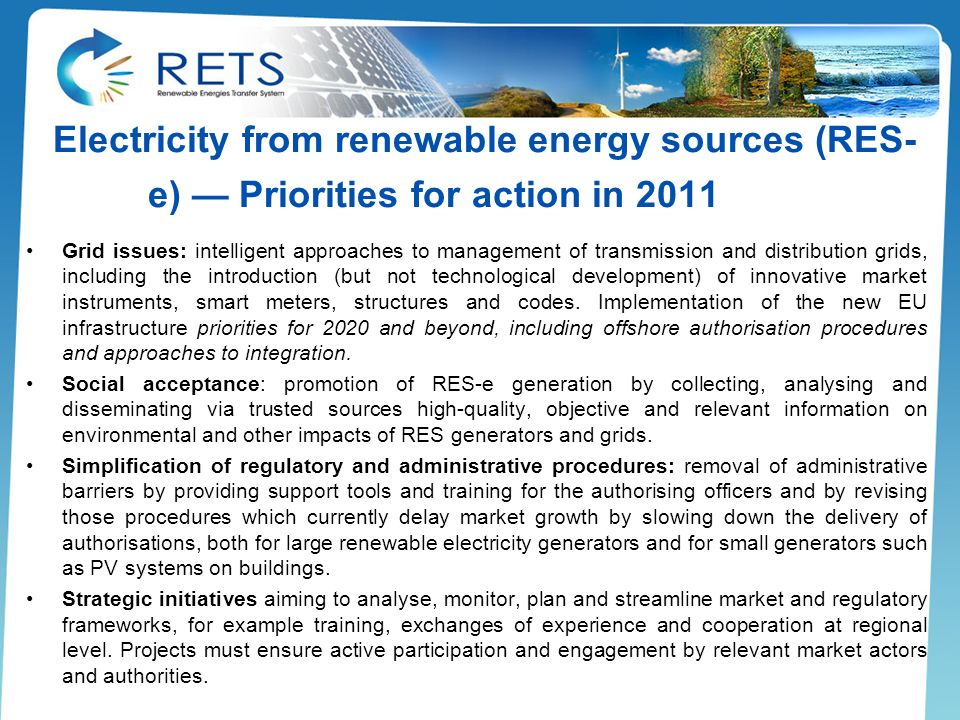 Electricity from renewable energy sources (RES-e) — Priorities for action in 2011