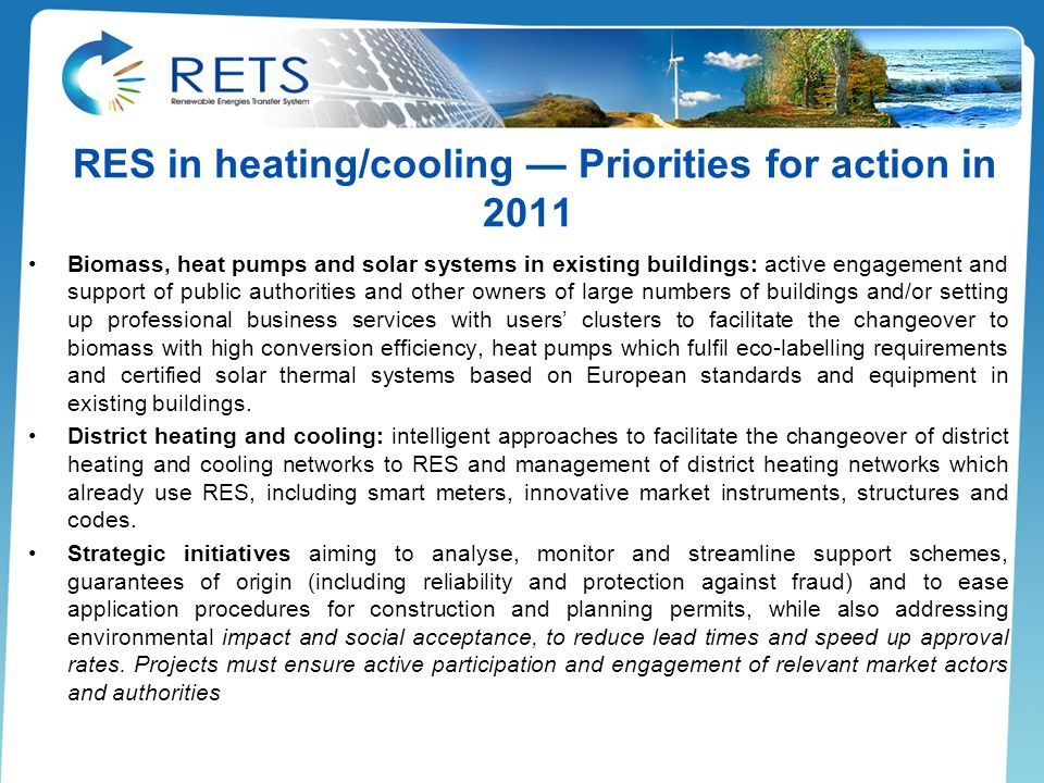 RES in heating/cooling — Priorities for action in 2011