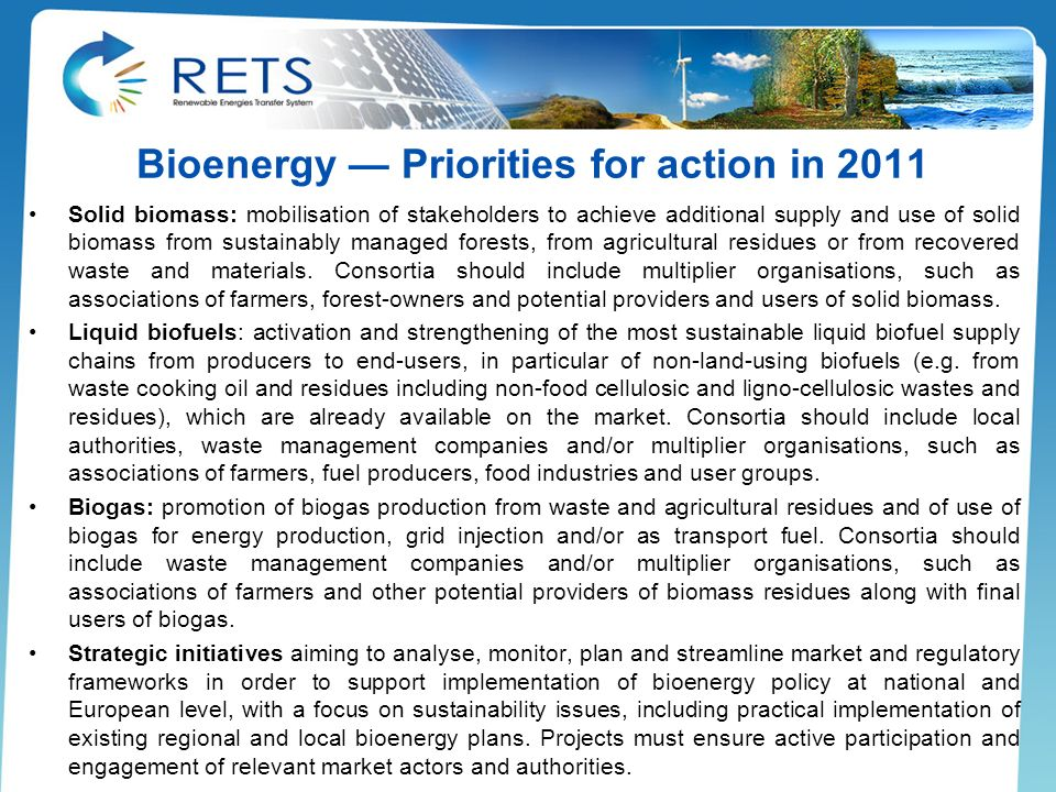 Bioenergy — Priorities for action in 2011