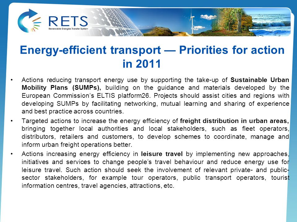 Energy-efficient transport — Priorities for action in 2011