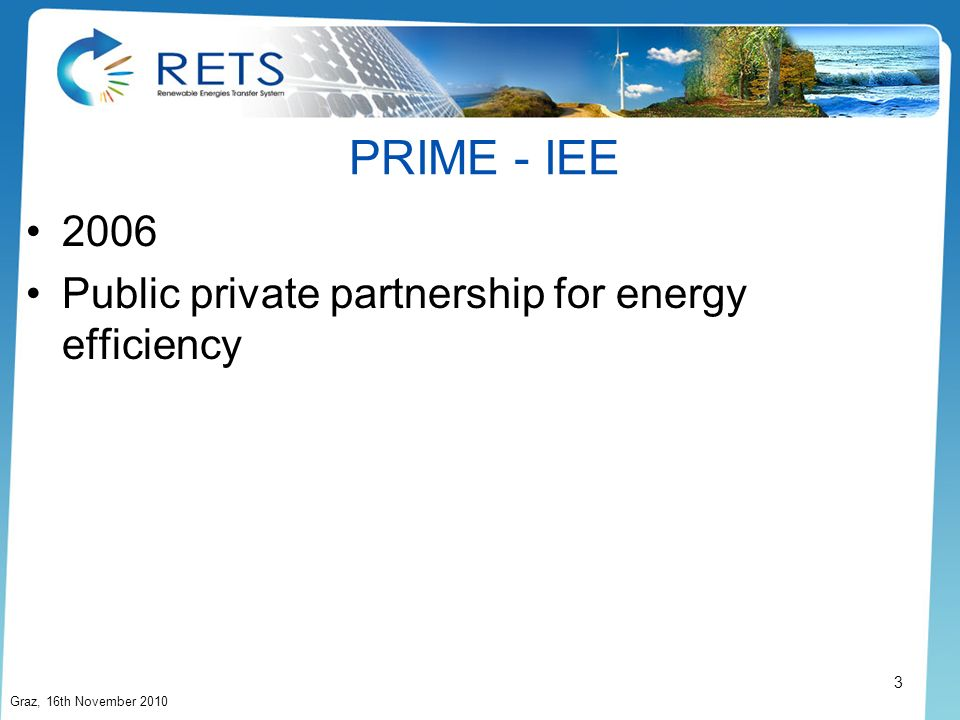 PRIME - IEE 2006 Public private partnership for energy efficiency