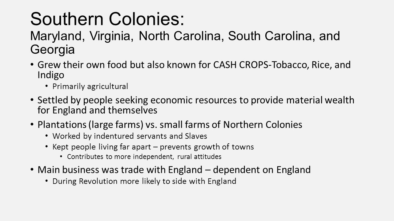 Southern Colonies: Maryland, Virginia, North Carolina, South Carolina, and Georgia