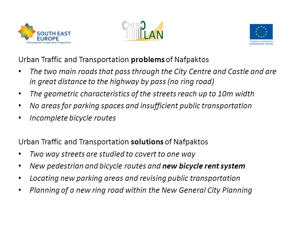 Urban Traffic and Transportation problems of Nafpaktos