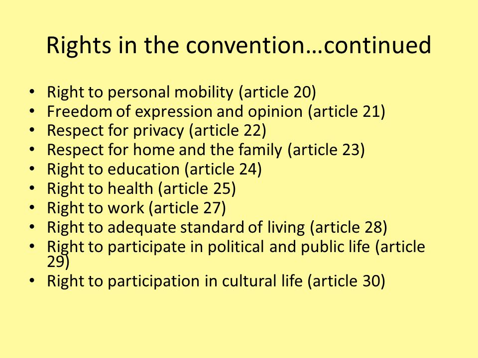 Rights in the convention…continued