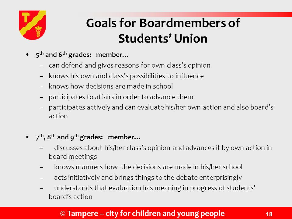 Goals for Boardmembers of Students' Union