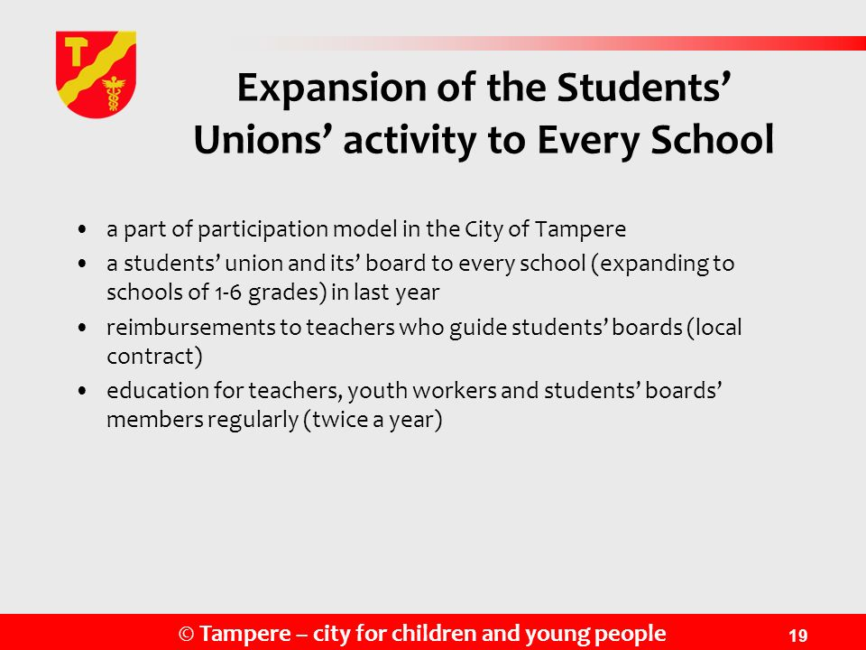 Expansion of the Students' Unions' activity to Every School