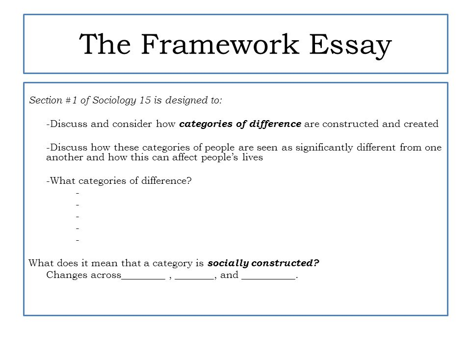 section constructing categories of difference ppt video  the framework essay
