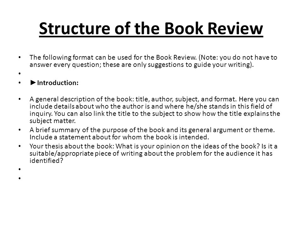 Structure book report