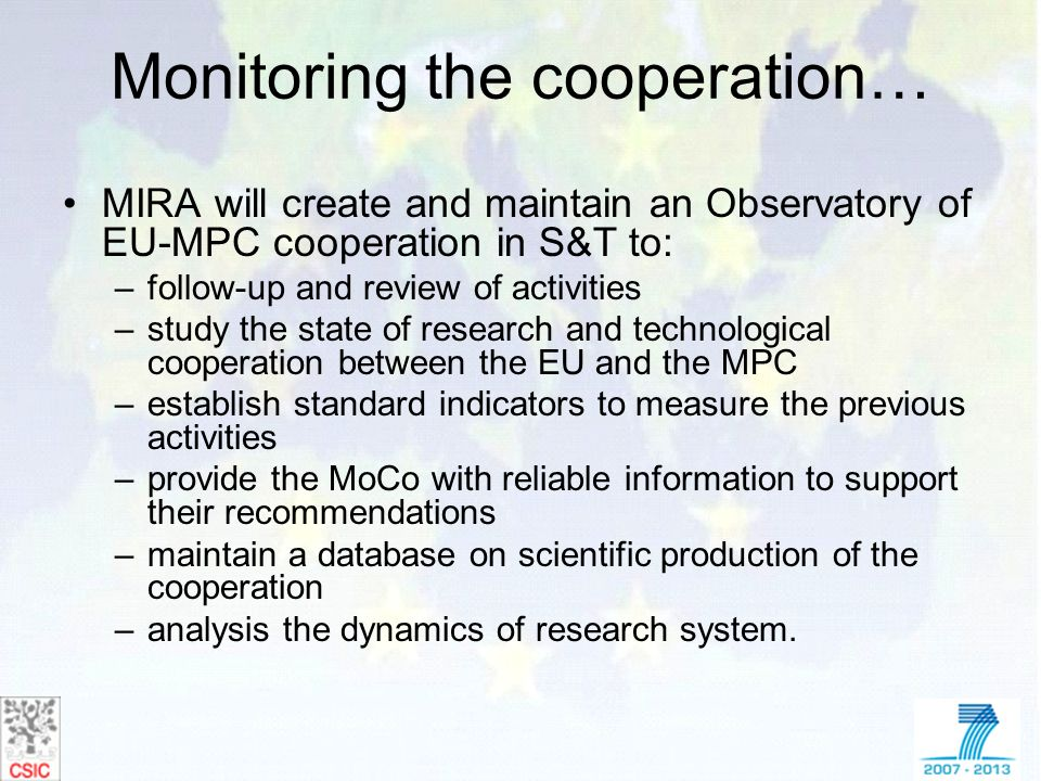 Monitoring the cooperation…