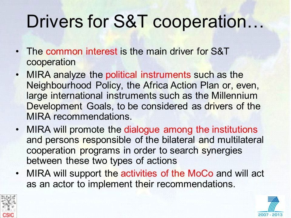 Drivers for S&T cooperation…