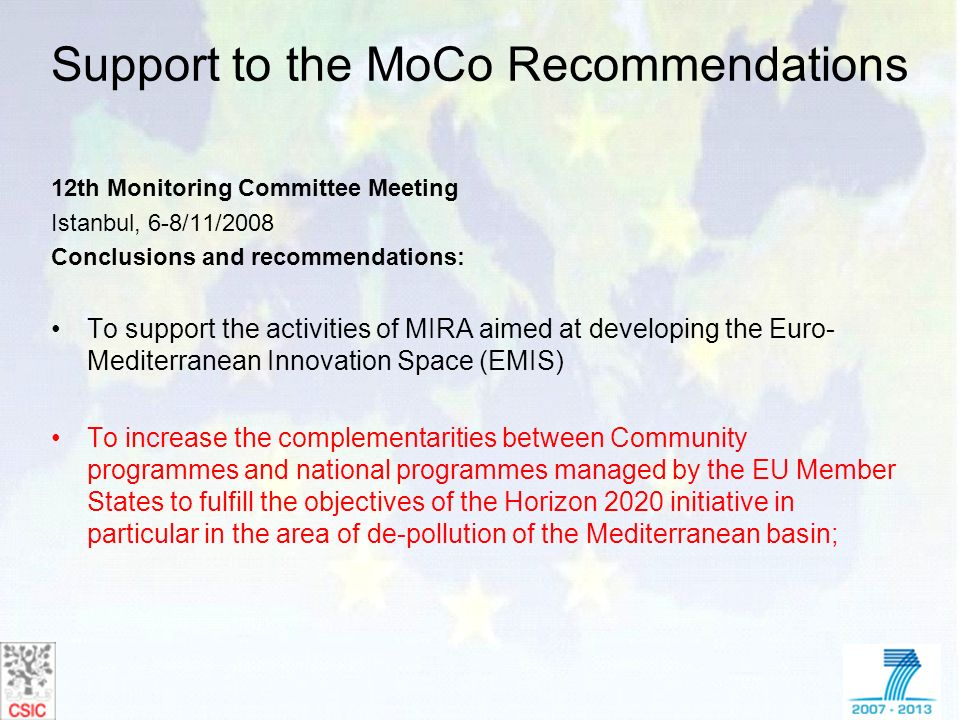 Support to the MoCo Recommendations