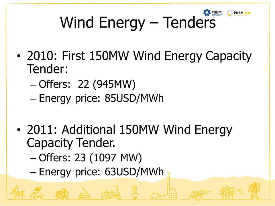 Wind Energy – Tenders 2010: First 150MW Wind Energy Capacity Tender: