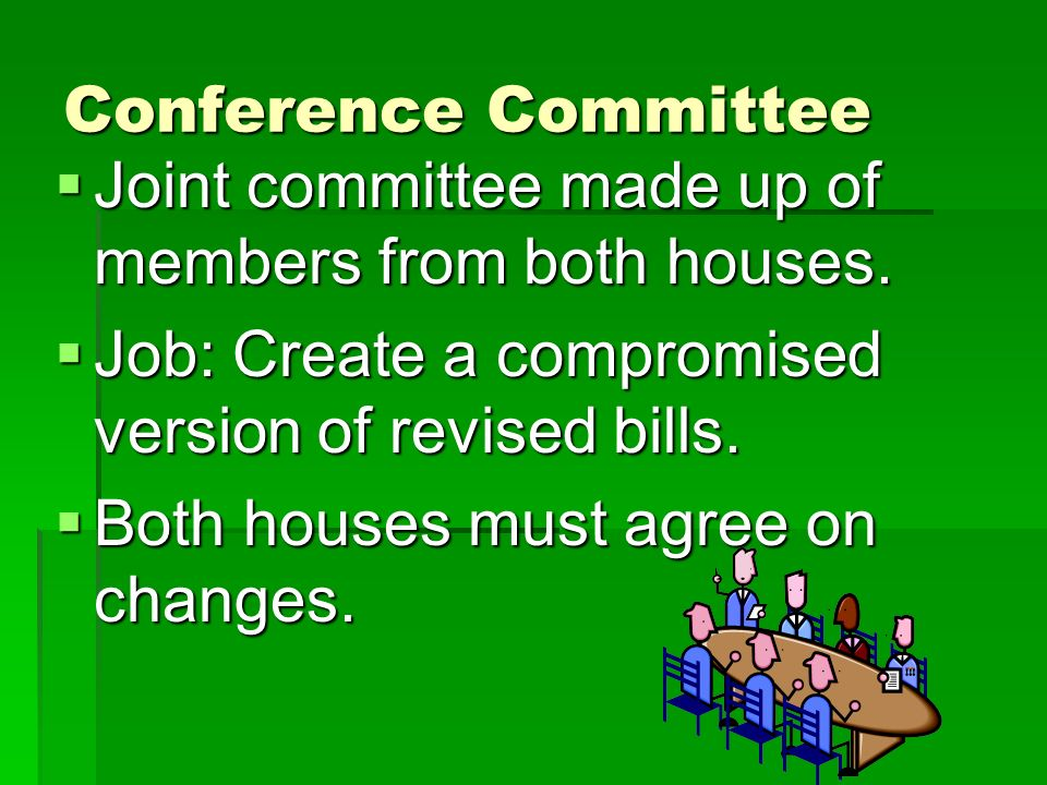 Conference Committee Joint committee made up of members from both houses. Job: Create a compromised version of revised bills.