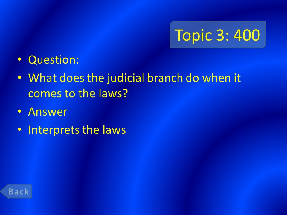 Topic 3: 400 Question: What does the judicial branch do when it comes to the laws Answer. Interprets the laws.