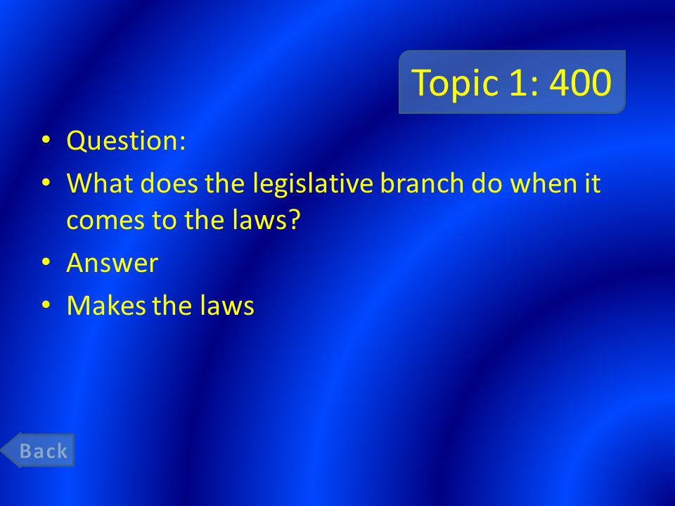 Topic 1: 400 Question: What does the legislative branch do when it comes to the laws Answer. Makes the laws.