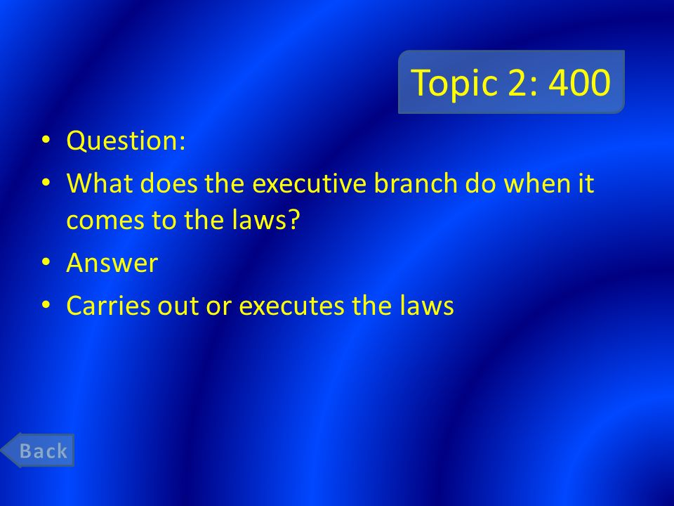 Topic 2: 400 Question: What does the executive branch do when it comes to the laws Answer. Carries out or executes the laws.