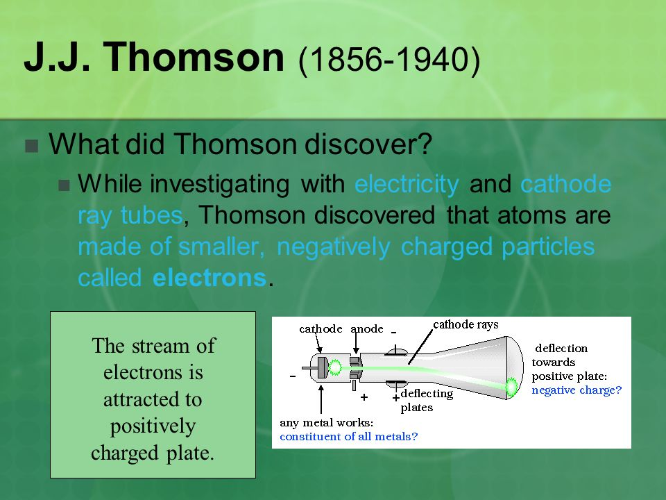 The stream of electrons is attracted to positively charged plate.