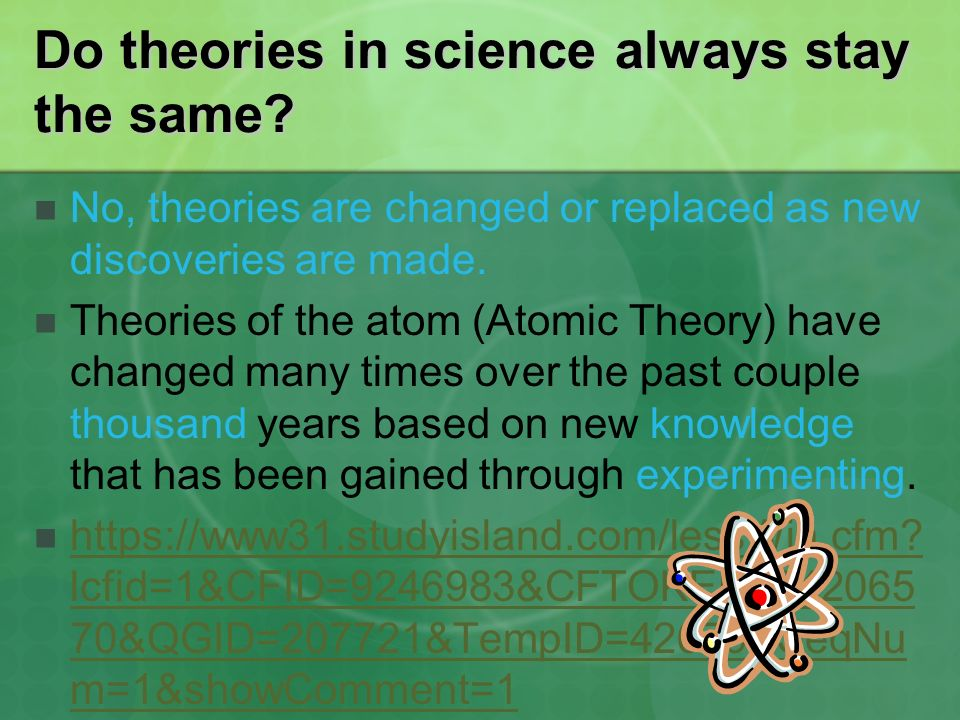 Do theories in science always stay the same