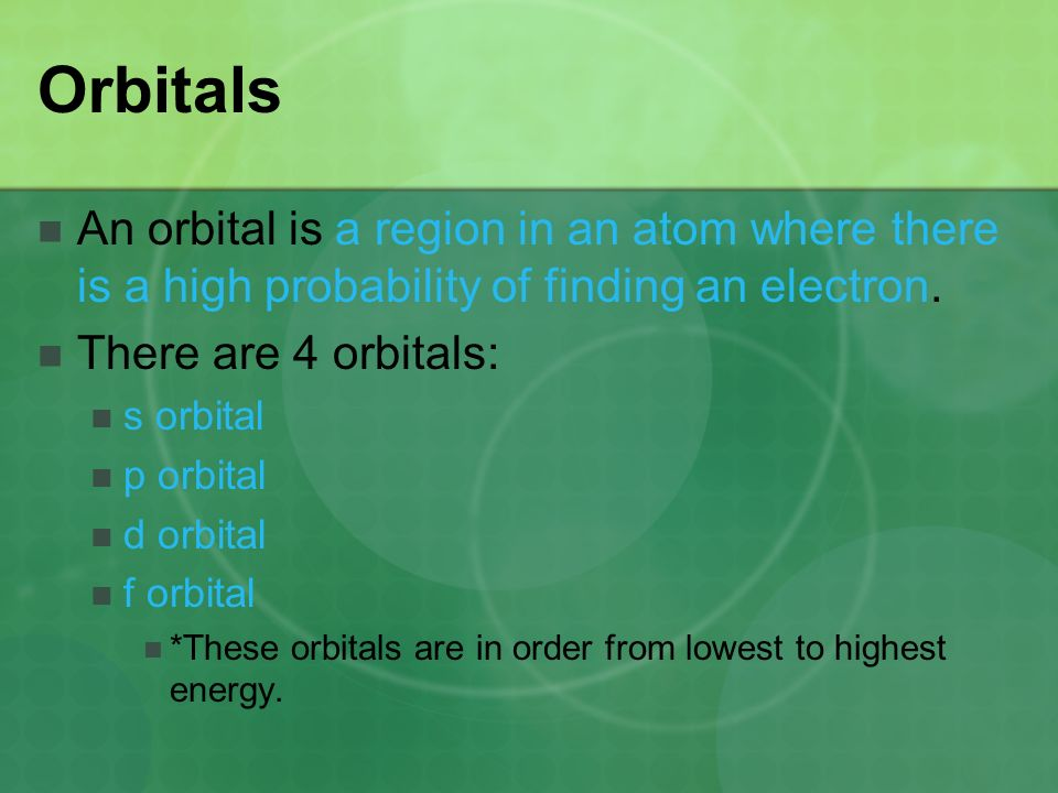 Orbitals An orbital is a region in an atom where there is a high probability of finding an electron.