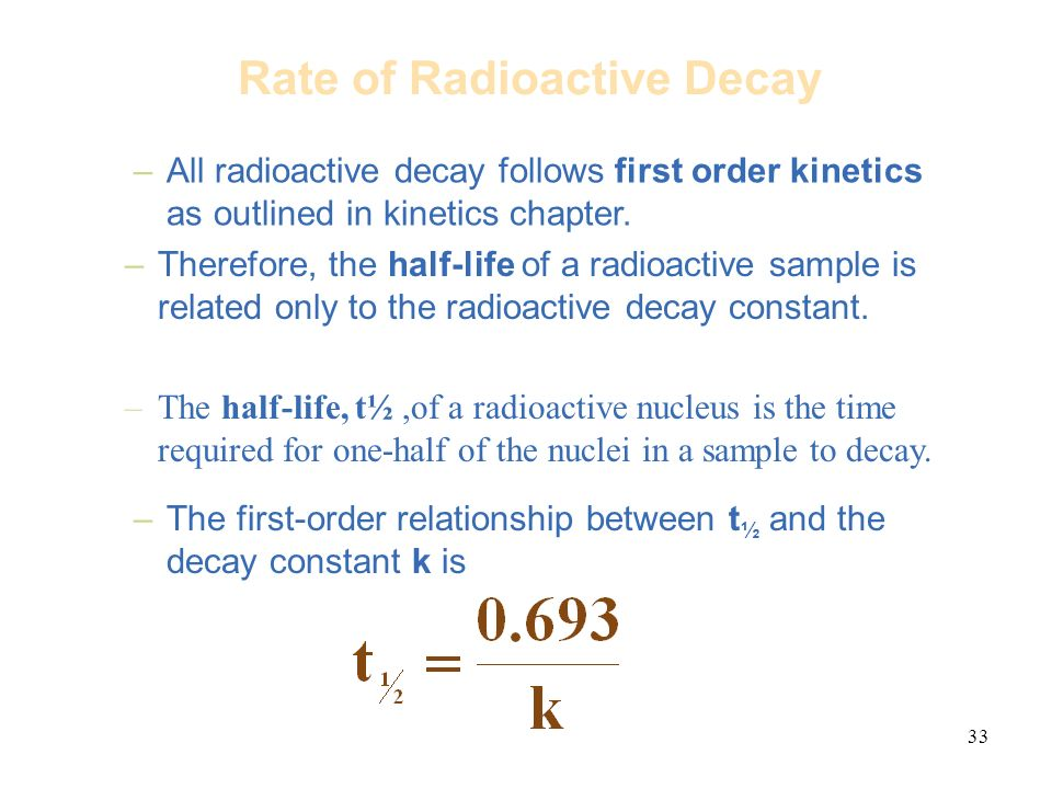 relationship between half life and rate of decay