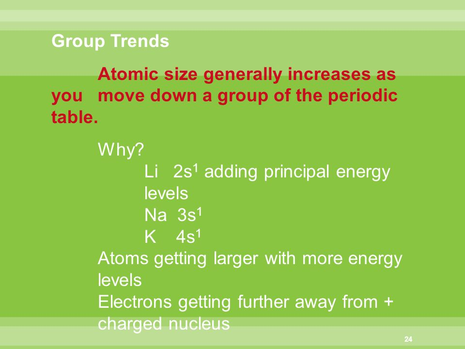 Chapter 5 periodic law chapter 4 periodicity ppt download group trends atomic size generally increases as you move down a group of the periodic table urtaz
