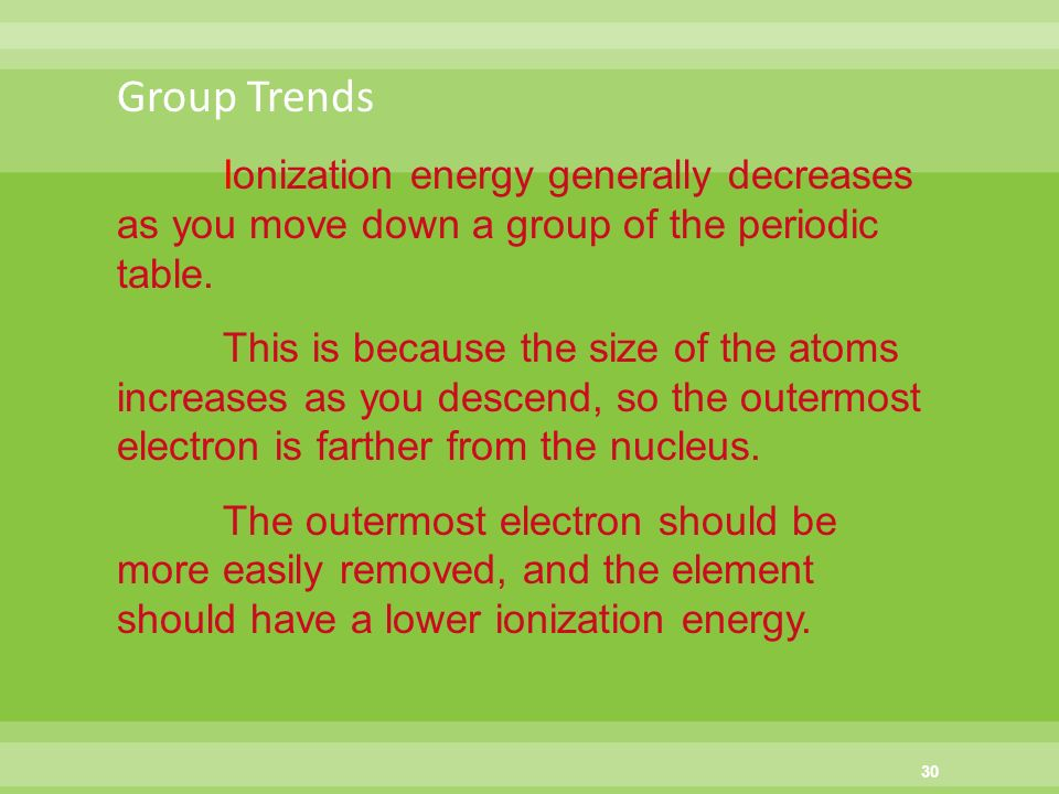 group trends ionization energy generally decreases as you move down a group of the periodic table - Periodic Table As You Move Down