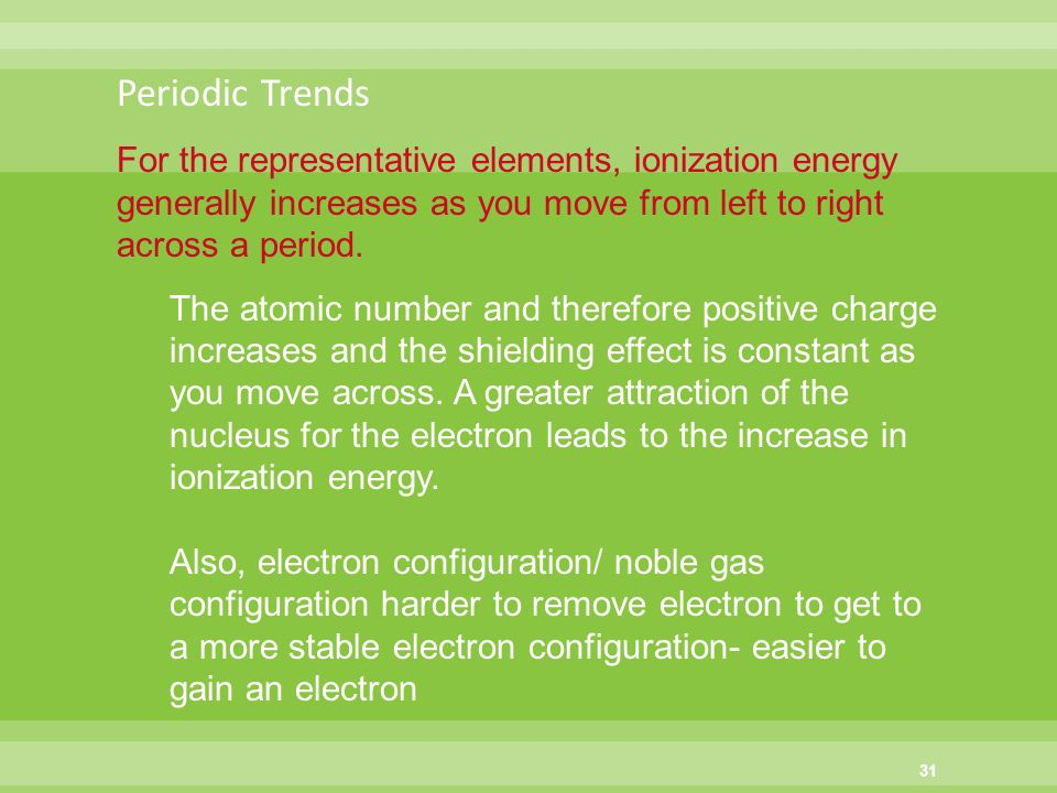 Chapter 5 periodic law chapter 4 periodicity ppt download 31 periodic trends for the representative elements ionization energy generally increases as you move from left to right across urtaz Image collections
