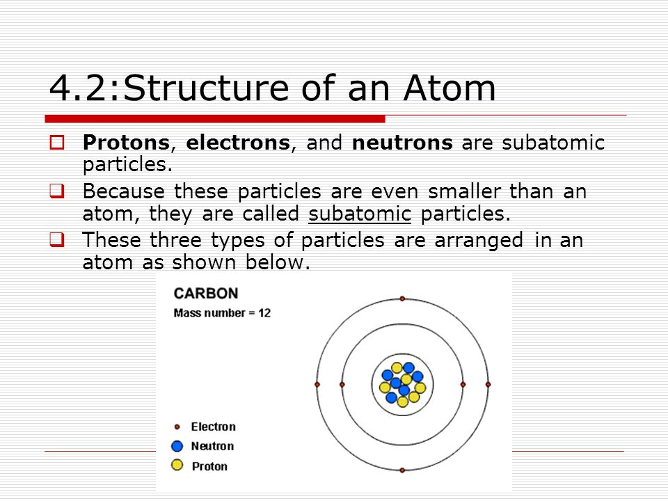 4.2:Structure of an Atom Protons, electrons, and neutrons are subatomic particles.