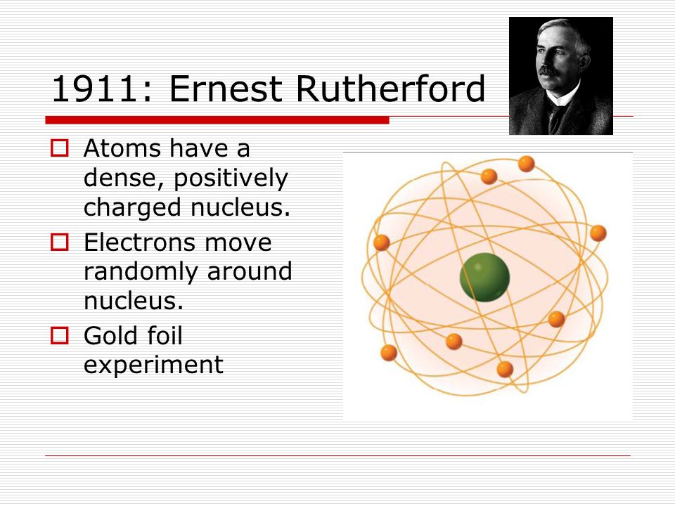 1911: Ernest Rutherford Atoms have a dense, positively charged nucleus. Electrons move randomly around nucleus.