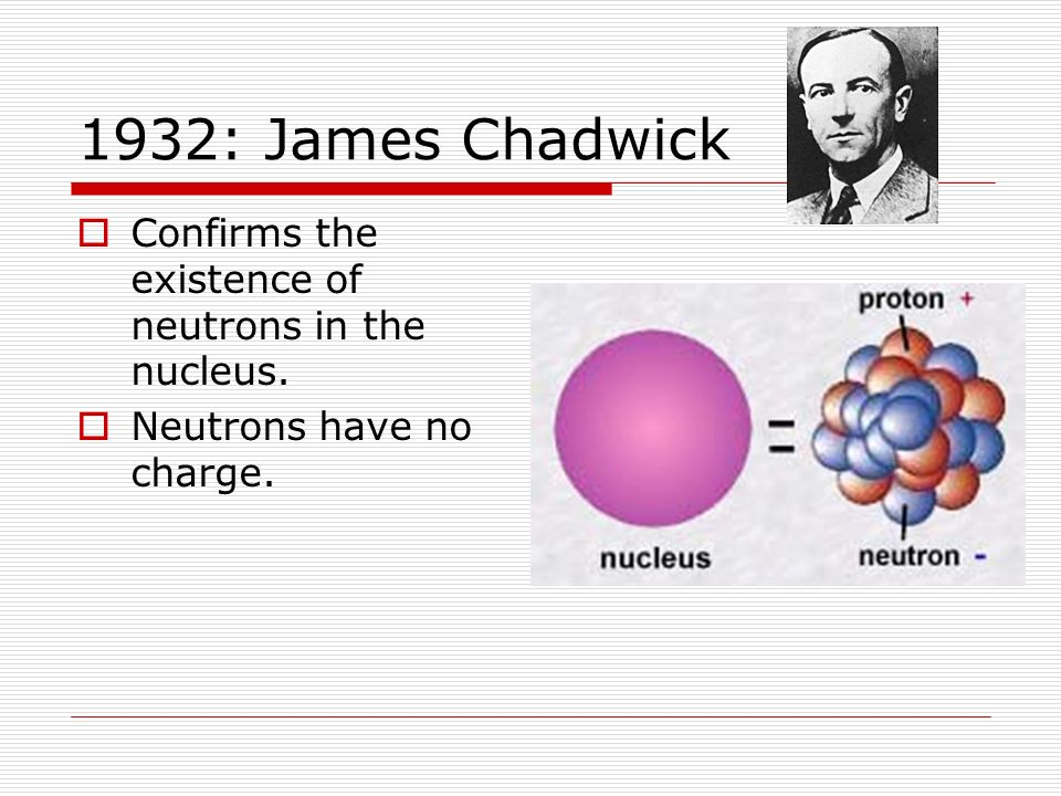 1932: James Chadwick Confirms the existence of neutrons in the nucleus. Neutrons have no charge.