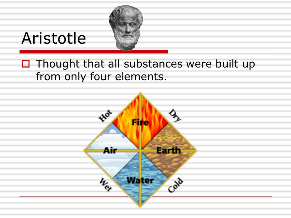 Aristotle Thought that all substances were built up from only four elements.