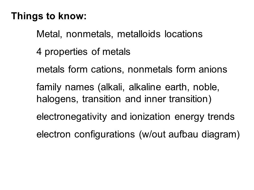 Things to know: Metal, nonmetals, metalloids locations. 4 properties of metals. metals form cations, nonmetals form anions.