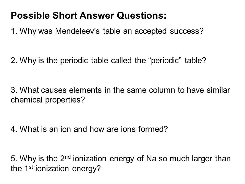Possible Short Answer Questions: