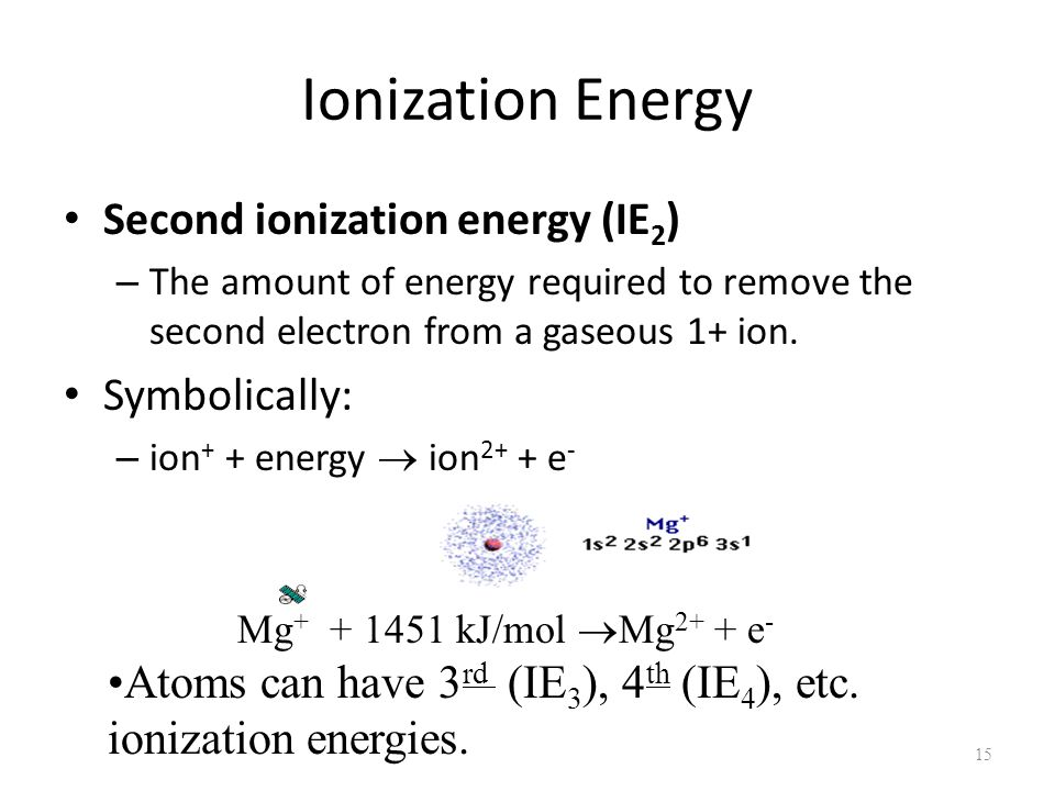 how to find second ionization energy
