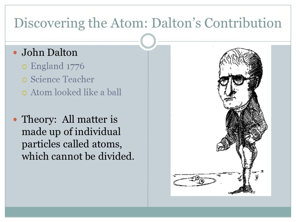 atomic theory contributions Scientific contributions  the essential novelty of dalton's atomic theory is that he provided a method of calculating relative atomic weights for.