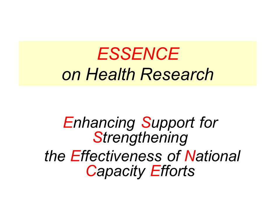 ESSENCE on Health Research