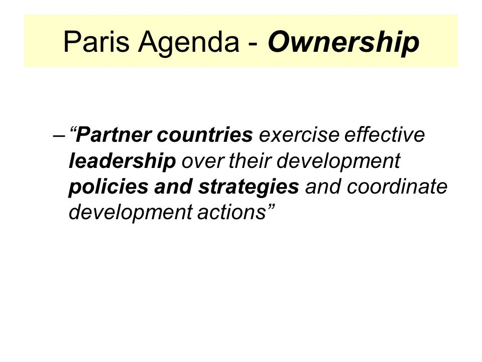 Paris Agenda - Ownership