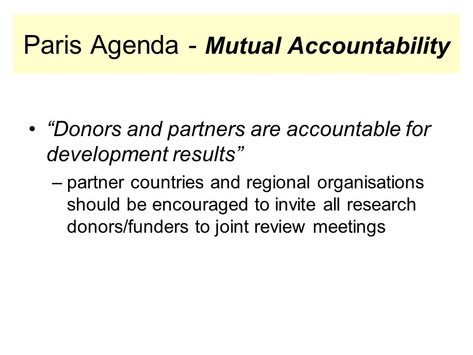 Paris Agenda - Mutual Accountability