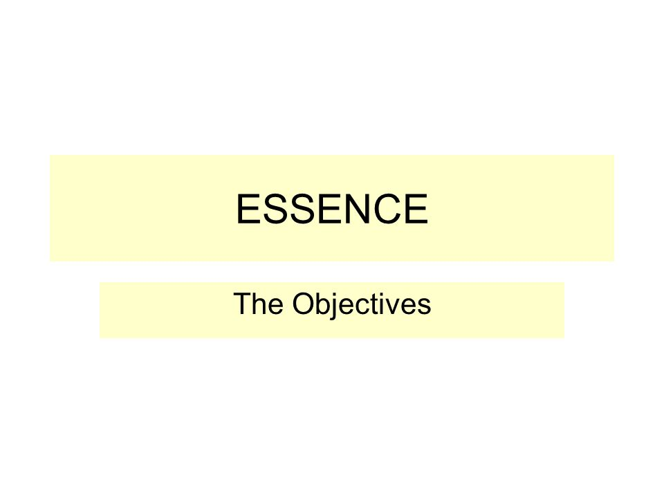 ESSENCE The Objectives