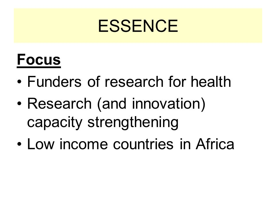 ESSENCE Focus Funders of research for health