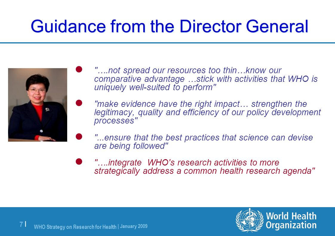 Guidance from the Director General