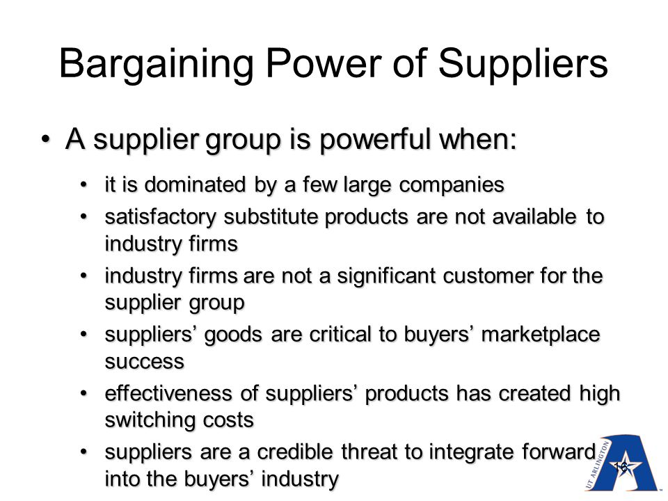 bargaining power of suppliers food industry The following are potential food and beverage industry passage of such laws could significantly increase the number of food labeling lawsuits, so those in the food industry products have hampered choice and innovation in the european food sector by giving retailers bargaining power.
