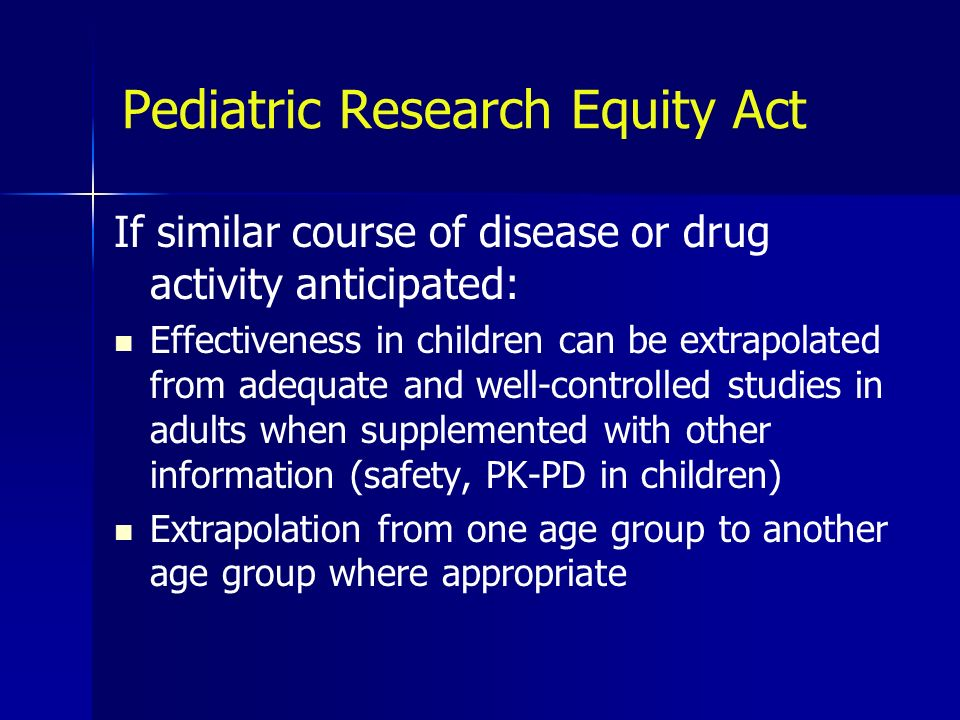 Pediatric Research Equity Act