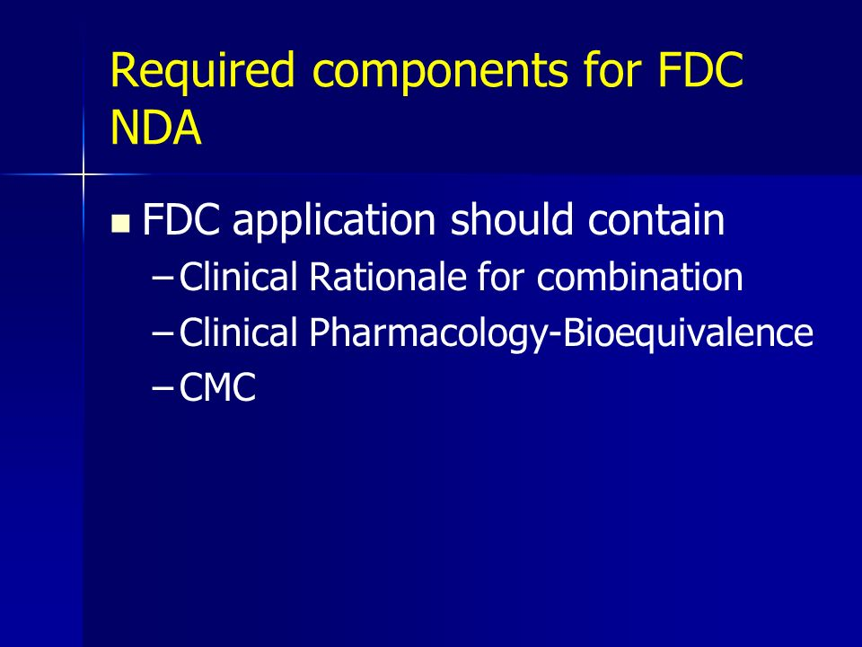 Required components for FDC NDA